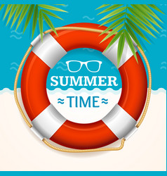 summer time banner with a life buoy vector image