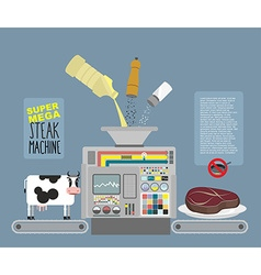 Super mega steak machine Automatic line for vector image