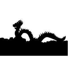 the chinese style dragon statue silhouette vector image