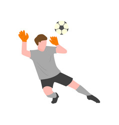 The goalkeeper in a gray uniform and gloves tries vector