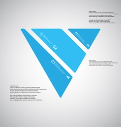Triangle template consists of three blue parts on vector