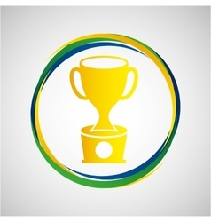 Trophy award sport badge icon vector
