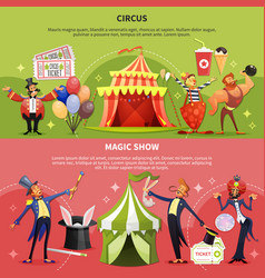 two circus cartoon banner set vector image