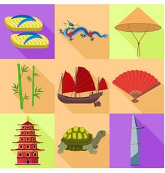 Vietnam travel icon set flat style vector