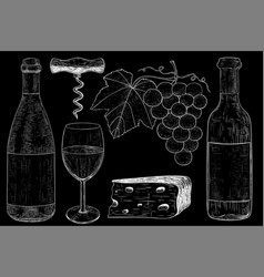 Wine set botlle of wine glass grapes cheese vector