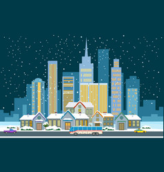 winter cityscape flat vector image