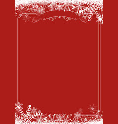 Winter snowflake retro border and christmas red vector