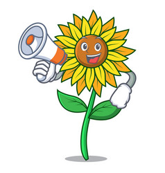 With megaphone sunflower character cartoon style vector
