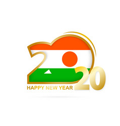 Year 2020 with niger flag pattern happy new year vector