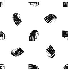 Egyptian girl pattern seamless black vector