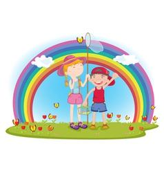 kids in garden vector image