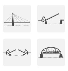 monochrome icon set with bridgework vector image vector image