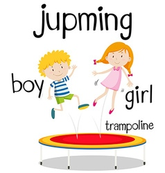 Boy and girl jumping on trampoline vector image