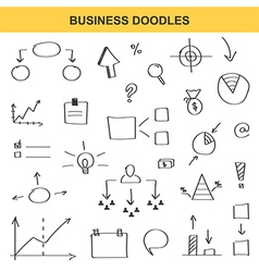 Business doodle set isolated on white background vector image