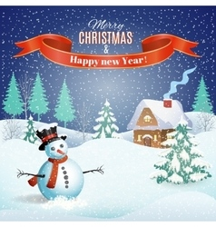 Christmas winter landscape vector image