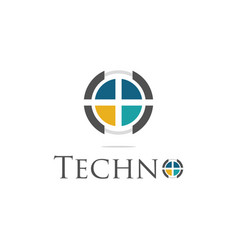 circle technology logo vector image