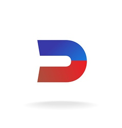 D letter logo template Blue and red colors magnet vector image vector image