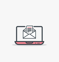 opened e mail and laptop vector image vector image