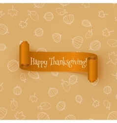 Realistic curved orange Thanksgiving Ribbon vector image vector image