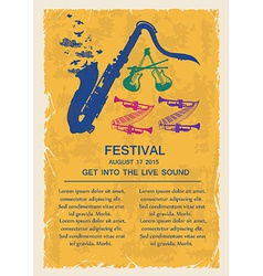 Retro jazz invitation with musical instruments vector