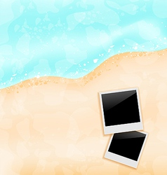 Beach background with set photo frames vector image