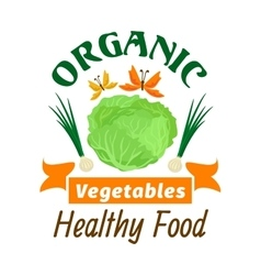 Cabbage Organic healthy vegetables emblem vector image