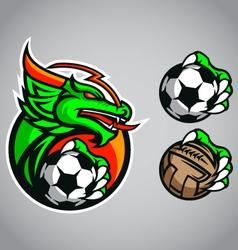 dragon emblem logo football vector image vector image