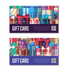 gift card template set with gift box vector image vector image