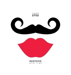 Ladies and gentlemen picture Lips and mustaches vector image vector image
