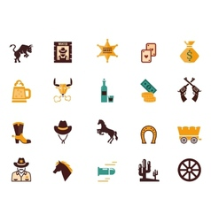 Large set of Western flat icons vector image vector image