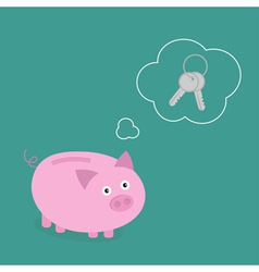 Piggy bank dream about key Think bubble empty Flat vector image