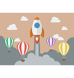 Rocket launching over the hot air balloons vector image vector image