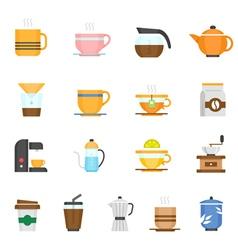 Color icon set - coffee and tea vector image