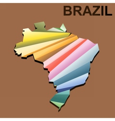 Digital brazil map with abstract colored vector image vector image