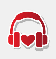 headphones with heart new year reddish vector image