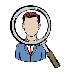 magnifying glass focused on a person icon cartoon vector image