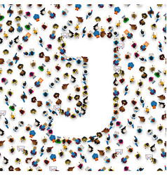 a group of people in english alphabet letter j vector image