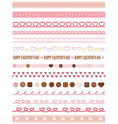 a set of seamless borders for valentines day vector image