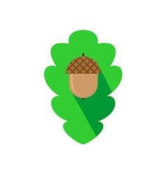 acorn sign on oak leaf background flat logo vector image