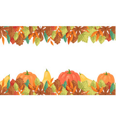 Autumn leaves and pumpkins horizontal banner vector