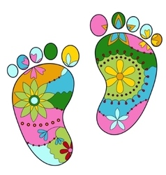 Baby feet painted silhouettes vector