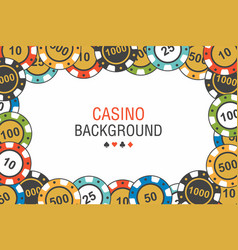 background casino chips top view vector image