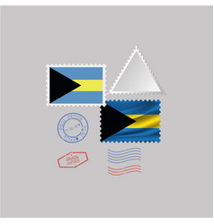Bahamas flag postage stamp set isolated on vector