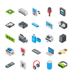 Basic electronic devices icons vector