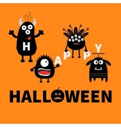 Black monsters holding letters Happy Halloween vector image
