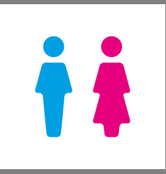 Blue and pink wc icon toilet vector