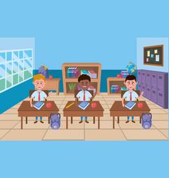 Boys in school classroom design vector