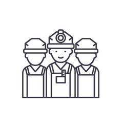 builders line icon concept builders linear vector image