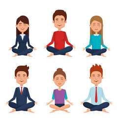 Business people meditation lifestyle vector