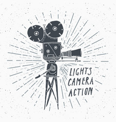 Camera vintage label hand drawn sketch grunge vector